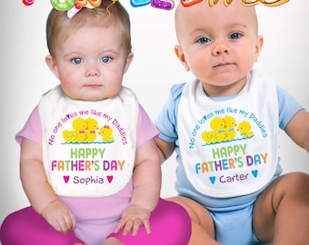 Happy Father's Day Bib - No One Loves me Like my Daddies - Girls or Boys - Personalized with Name (Gay / Lesbian / 2 Daddies)