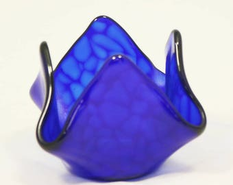 Blue Fused Glass Votive