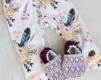 12-18 Months Floral baby Leggings//Floral Leggings, Baby Girl Leggings, Baby Girl Pants, Baby Shower Gift, Pink Baby Leggings, baby Pants