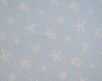 Fabric 100% cotton-blue with white starfish