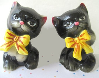 Salt And Pepper Shakers * Py Miyao Norcrest * Black Cats * Cat Decor * Vintage Tableware