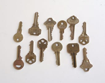 vintage metal key collection, old keys, collage, salvage assemblage, altered  art supply,
