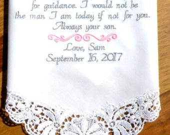 Beautiful New Lace Hanky Special Wedding Day Gift Mom from Son New Groom Embroidered Wedding Handkerchiefs Wedding Gift Canyon Embroidery