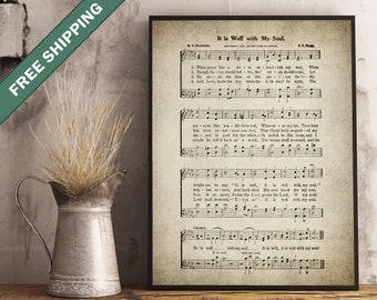 It is well with my soul Hymn Print - Sheet Music Art - Hymn Art - Hymnal Sheet - Home Decor - Music Sheet - Hymn Lyrics - bible #HYMN-P-002