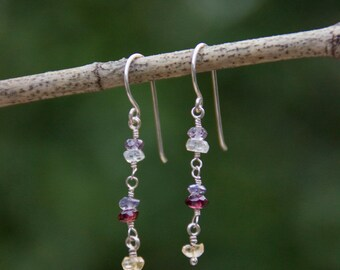 Delicate Multicoloured Gemstone Earrings