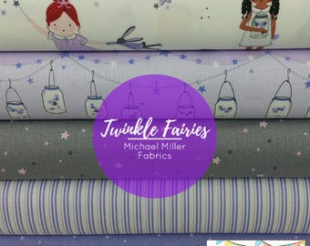 Lavender Twinkle Fairies Bundle from Michael Miller Fabrics - 5 Fabrics