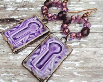 Purple Earrings For Women, Keyhole Earrings, Boho earrings, Everyday Earrings, Gypsy Earrings, Long Earrings, Unique Earrings For Women