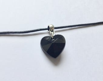 Black Heart Choker, Black Heart Necklace, Gothic Choker, Black Heart Jewellery, Gift for Her, Gift for Him,