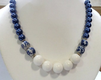 Blue mother of pearl, white oriental bead  statement necklace, blue white necklace