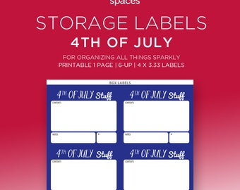 Holiday Storage Labels - 4th of July Decorations & More Organizing Labels - PRINTABLE Labels