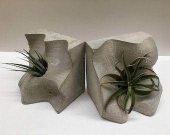 Sculptural Concrete Bookends and Vase // Artist Made // 3D Printing Silicone Mold Cement Cast // Usable Sculptures // Concrete Vase //