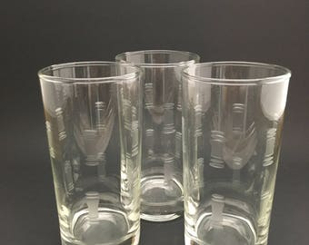 Mid Century Tumblers - Vintage Etched Drink Glasses - Vintage Tumblers - Highball Glasses - Anchor Hocking Avalon - Water Glasses - Set of 3