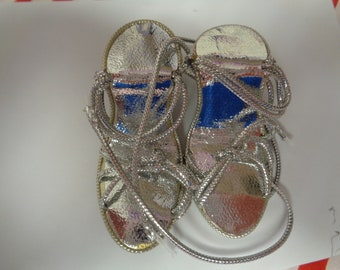 Adorable High Heels- Silver Doll Shoes Sandals Vintage Doll Shoes-Size 5