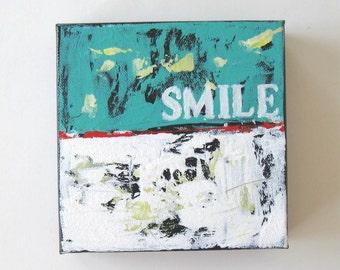 "SALE, Inspirational Word Acrylic Painting, Art on Canvas, Home Decor, 6"" x 6"", Custom Stencil Word art, gift idea"