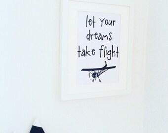 Let your dreams take flight, black foil print, monochrome, nursery, wallart, decor