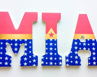 Pink Wonder Woman Superhero Wooden Letters, Girl Bedroom