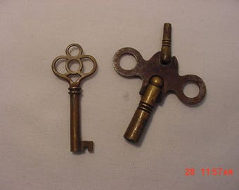 2 Antique Keys - Skeleton Key & Double End Clock Key  18 - 467