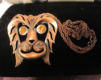 Vintage Copper Lyon  Orange Rhinestone Eye's Statement Necklace REDUCED