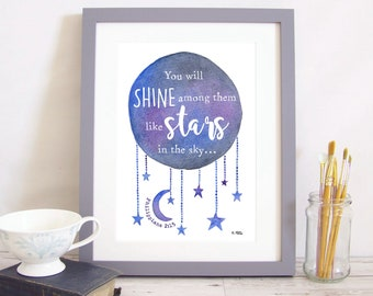 """Art Print """"You will shine among them like stars in the sky"""" - Philippians 2:15 (Christian Bible verse) A4 watercolour picture with moon"""