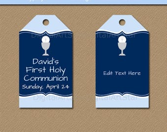 First Communion Gift Tags, Boy 1st Communion Printable Tags, Blue 1st Holy Communion Thank You Tags, Favor Tags, Downloadable Hang Tags FC1