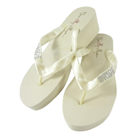 Bling Flops or heel Bridal brides Maid Bling of Shoes Wedge Honor Wedding any White Silver heel amp; Flip color Bridesmaid height Ivory w46qII