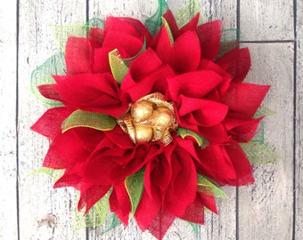 """Red Poinsettia Wreath, Holiday Wreath, Christmas Wreath, Red Burlap Wreath, Red, Green & Gold, 20"""""""