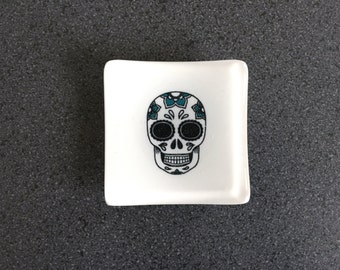Sugar Skull Trinket Dish - White/Black/Turquoise
