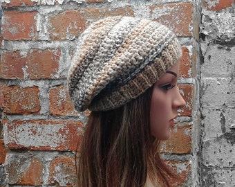Beige crochet beanie , Women's  beanie hat . Slouch beanie . Crochet hat .Beige beanie . Winter hat .  Festival hat . Colourful beanie
