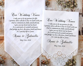 Set of 2 Wedding Vows handkerchiefs set of 2 handkerchiefs for the Bride and Groom, Our Wedding Vows, PRINTED handkerchiefs - BroMono[B2]