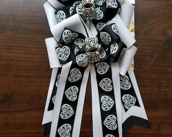 Black & White Hearts Equestrian Show Bows (Grand Champion Size)