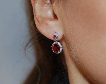Delicate silver earrings, Cz earrings, Dainty earrings.