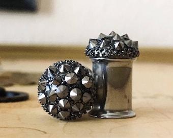 Charcoal Punk Rock Plugs, gauges 0g 00g, 8mm 10mm