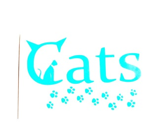 DIY Vinyl Decal, Cat Sitting on the Word Cats, Paw Prints, Cat Lover, Laptop, Cell Phone, Tablet, Car Window, Drinking Cup, Picture Frame
