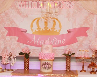Beau Princess Party Backdrop  Pink And Gold Crown (choose Your Size)