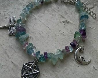 Wicca Fluorite Dragonfly Bracelet