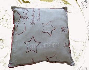 "Handmade cushion in cotton ""Happy christmas"""