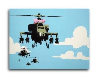 Banksy Happy Choppers Brushed Aluminum Metal Print