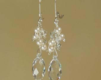 Crystal Bridal Earrings, Clear Crystal Briolette and Pearl Earring, Dangle, Bridal Wedding Earring, Sterling Silver, Ivory Creme Earrings