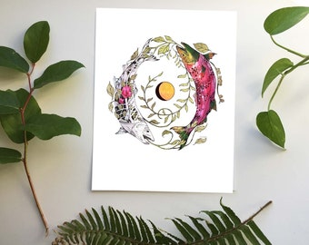 Salmon Art - Salmon Cycles - Salmon Print - Fish Art - Nature Lover -Canadian - PNW