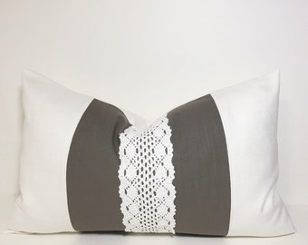 Decorative Colorblock pillow cover. cream white olive brown. Olive brown textured slub and lace lumbar accent pillow home decor accent