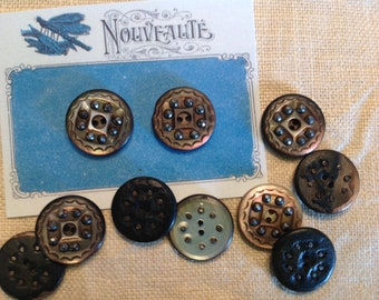 Two Vintage Mother of Pearl Buttons with Incised Design and Steel Facetted
