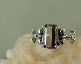 1.91 ct. Emerald Cut Ametrine Ring Fleur de Lis Setting Sterling Silver