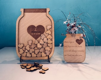 Mason Jar Wedding guest book alternative, Wooden guestbook alternative, Guest book ideas Custom guestbook Rustic guest book Mason Jar weddin