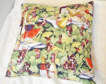 """Vineyard pillow cover, wine, cheese, green leaves, purple grapes, picnic scene, 14 inches, 12"""", 20 inches"""