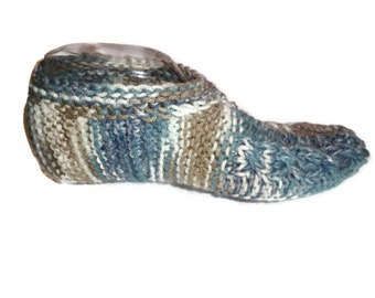 Knit cuffed slippers for him, Travel Cuffed Slipper Socks,Braided Knit Slippers, Maade to Order