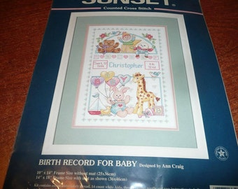 Vintage Sunset Cross Stitch Birth Record For Baby Kit