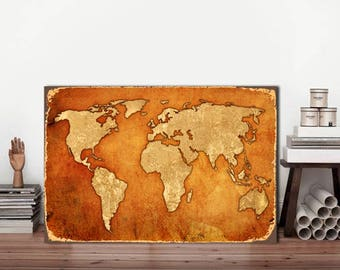 Brown World map, World Map, Vintage World map, Metal sign, Map metal sign, Map of the world, Rustic world Map, Map Sign, World map Vintage