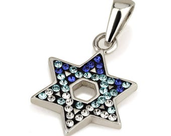 Star of David Pendant With Blue Gemstones + 925 Sterling Silver Necklace