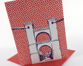 Waco, Texas Letterpress Card | Suspension Bridge | purple & red single blank card with envelope