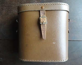 Vintage English Leather Brown Binoculars Case Carry Holdall Carrier Case circa 1950-60's / English Shop